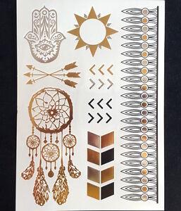 FLASH-COLLA-Tatuaggio-temporaneo-Metallico-CORPO-UNA-VOLTA-ORO-ARGENTO-BRACCIALE