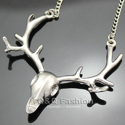 Polish Silver DEER HEAD Horn Elk Skull Antler Stag Pendant Necklace Costume Punk
