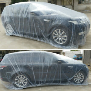Waterproof Car Cover >> Details About Clear Plastic Disposable Universal Car Covers Rain Dust Garage Cover Waterproof
