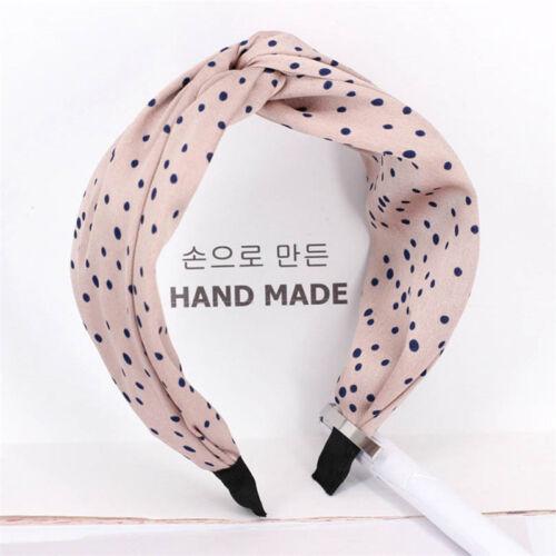 Ladies Women/'s Dot Knot Headband Wide Hair Band Cross Fabric Hairband Headwear