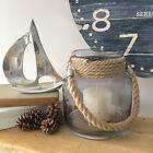 Grey Glass Hurricane Lantern/Rope Handle/Candle Holder/Vase/Coastal