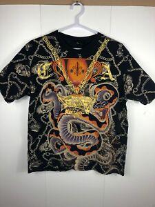 Christian-Audigier-Black-XL-Charmed-Life-T-Shirt-Snake-Rhinestones-Ed-Hardy