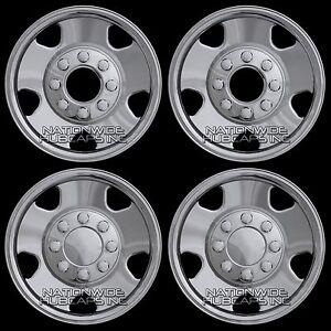 2005-07-Ford-F250-F350-4x4-17-034-Chrome-Wheel-Skins-8-Lug-Full-Rim-Covers-Hub-Caps
