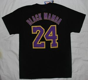 quality design a6f34 e1d1d Details about Los Angeles LA Lakers Kobe Bryant Black Mamba Mens Majestic  Name & Number TShirt