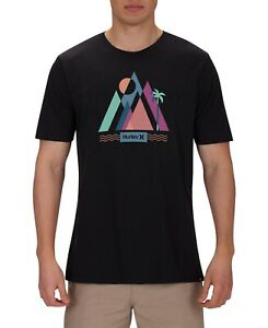 Hurley-Mens-T-Shirt-Black-Size-XL-Prism-Scene-Out-Crewneck-Soft-Knit-Tee-214