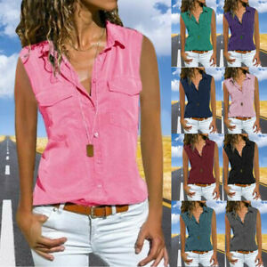 Womens-Casual-Sleeveless-Turn-Down-Collar-Blouse-Button-Summer-Beach-T-Shirt-Top