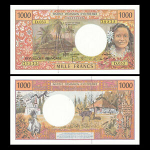 French Pacific Territories 1000 Francs p-6 2 2014 new signature UNC Banknote
