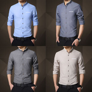Men-039-s-Stylish-Slim-Fit-Long-Sleeve-Formal-Dress-shirt-Casual-Shirts-Luxury-Tops