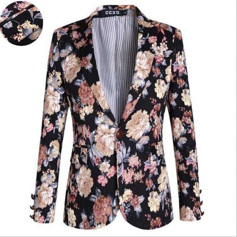 Mens 100% Cotton Spring One Button Slim Fit Lapel Floral Printing Blazer Coat