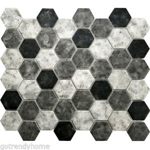 Image Is Loading Black Grey Hexagon Pattern Recycled Gl Mosaic Tile