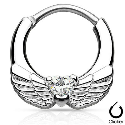 Angel Wings with Clear Heart CZ  Surgical Steel Septum Clicker14GA /16GA FSH