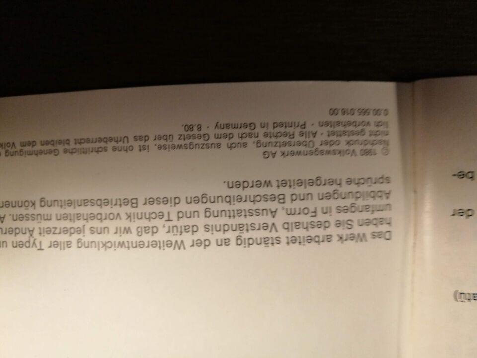 Scirocco, instruktionsbog