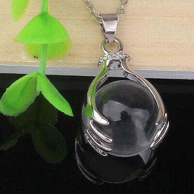 1x Silver Plated Hand Round Gemstone Beads Hand-Holding Stone Pendant Necklace