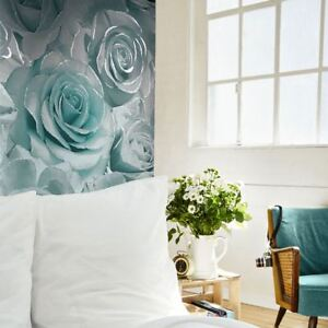MURIVA-MADISON-ROSE-GLITTER-FLORAL-WALLPAPER-AQUA-amp-GREY-139523-FEATURE-WALL-NEW