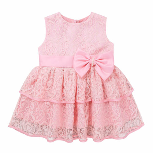 Baby Toddler Girls Bowknot Lace Christening Baptism Occasion Wedding Tutu Dress