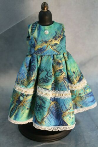 "Aqua /& Gold Doll Dress for Dianna Effner Dolls and Other 13/"" Dolls"