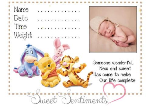 A4 Personalised BABY POOH NEUTRAL NURSERY PRINT