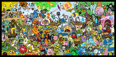"Adventure Time American TV Series Fabric poster 43"" x 24"" Decor 05"