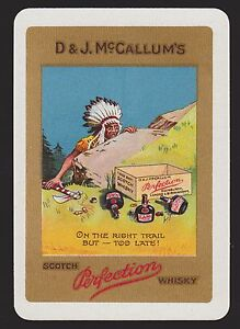 1-Single-VINTAGE-Playing-Swap-Card-OLD-WIDE-D-amp-J-McCALLUM-039-S-SCOTCH-WHISKY-Indian