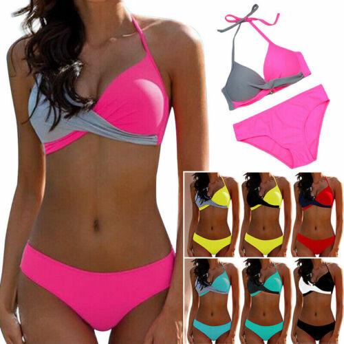 2pcs Damen Push-Up Gepolstert Bikini Set Badeanzug Bademode Schewimmanzug