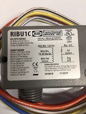 NEW IN BOX Functional Devices Ribu1C Enclosed 10 Amp SPDT Pre Wired Relay RIB