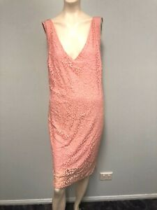 ALBA-Bali-pink-lace-straight-dress-V-neckline-and-fully-lined-size-L-Womens