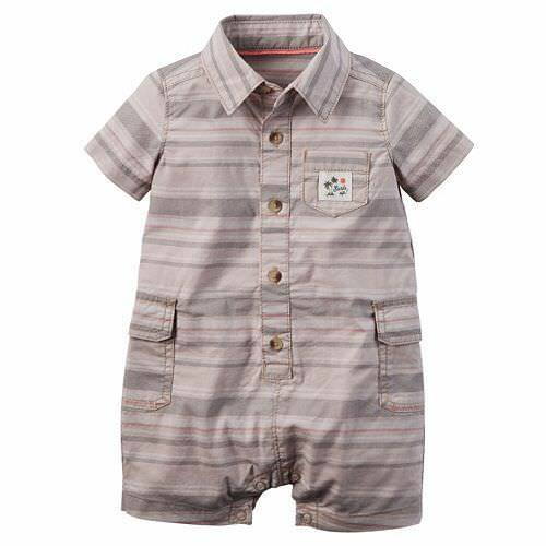 Carters Striped Poplin Romper One Piece Baby Boy Size 3 Months NWT