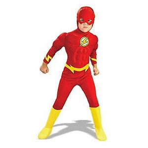 Boy-Kids-Children-Flash-Superhero-Costume-Fancy-Dress-Muscle-Chest-Birthday-Gift