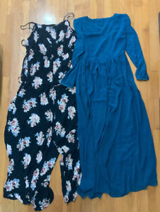Set-Of-2-Chelsea-And-Theodore-Black-Floral-Jumpsuit-Teal-Maxi-Dress-Size-M