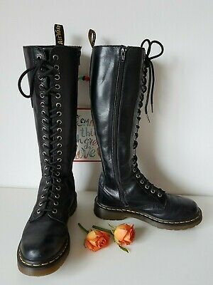 Dr Martens 20 silver eye hole knee high zip 1B60 black UK 4 EU 37 US 6 tall | eBay