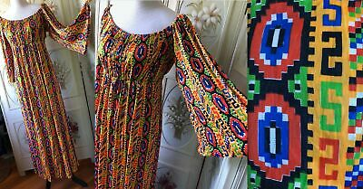 Vintage 1970s Hippie Psychedelic Summer Slinky Floral Maxi Dress
