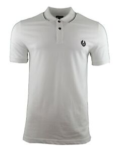 bd4ef94aa BELSTAFF 'STEWARTON' POLO SHIRT WHITE CHEST LOGO PIQUE COTTON STRIPE ...
