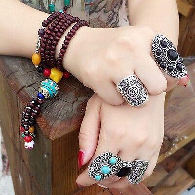 1PC New Retro Women Boho Ethnic Carved Antique Black Midi Full Finger Rings
