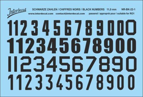 Números negros decal para r01 11mm naßschiebebild los números de inicio nr-bk-22-1