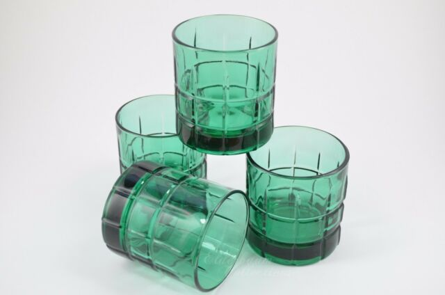Anchor Hocking Glass Tartan Pattern Emerald  Rocks Manhattan Set of 4 Vintage