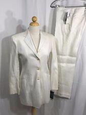 Ralph Lauren Womens White Linen 2 Piece Blazer Pant Suit 4 NWT Orig Retail $359
