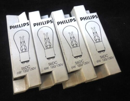6W LOT OF 4 PHILIPS MINIATURE LIGHTING LAMP BULB S6DC 120//130V MADE IN KOREA