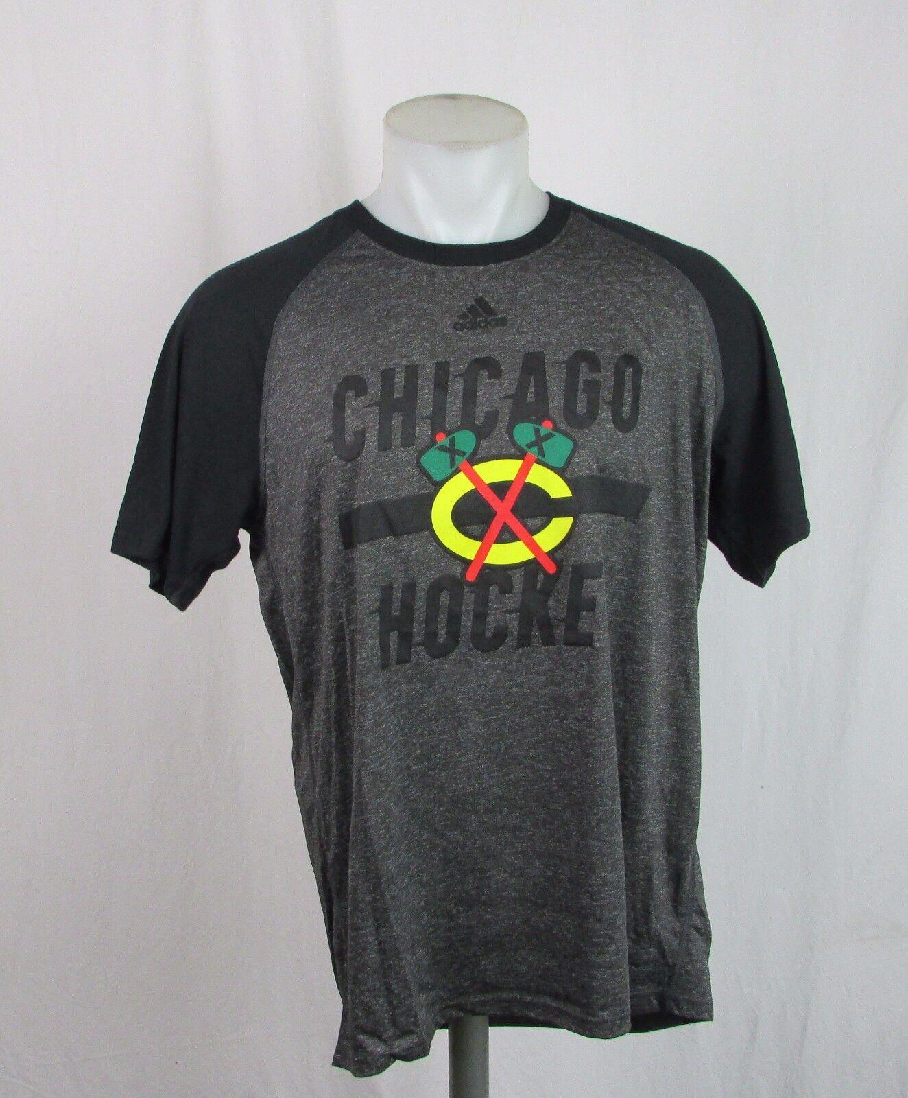 LNH pour homme M, XL Chemise Blackhawks de Chicago Ultimate Charcoal / Black Adidas A12MLM