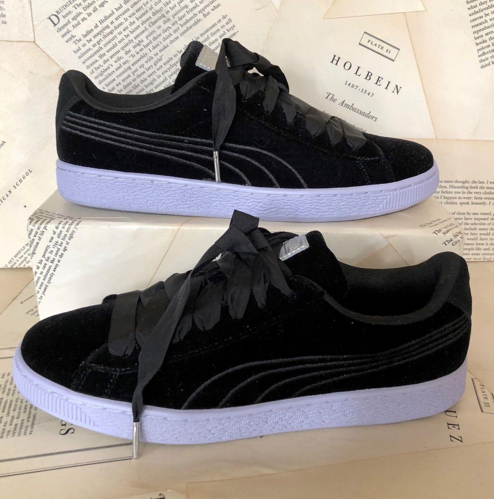 NEW Puma black black black Velvet Ribbon Lace Sneakers 41  10 3447ed