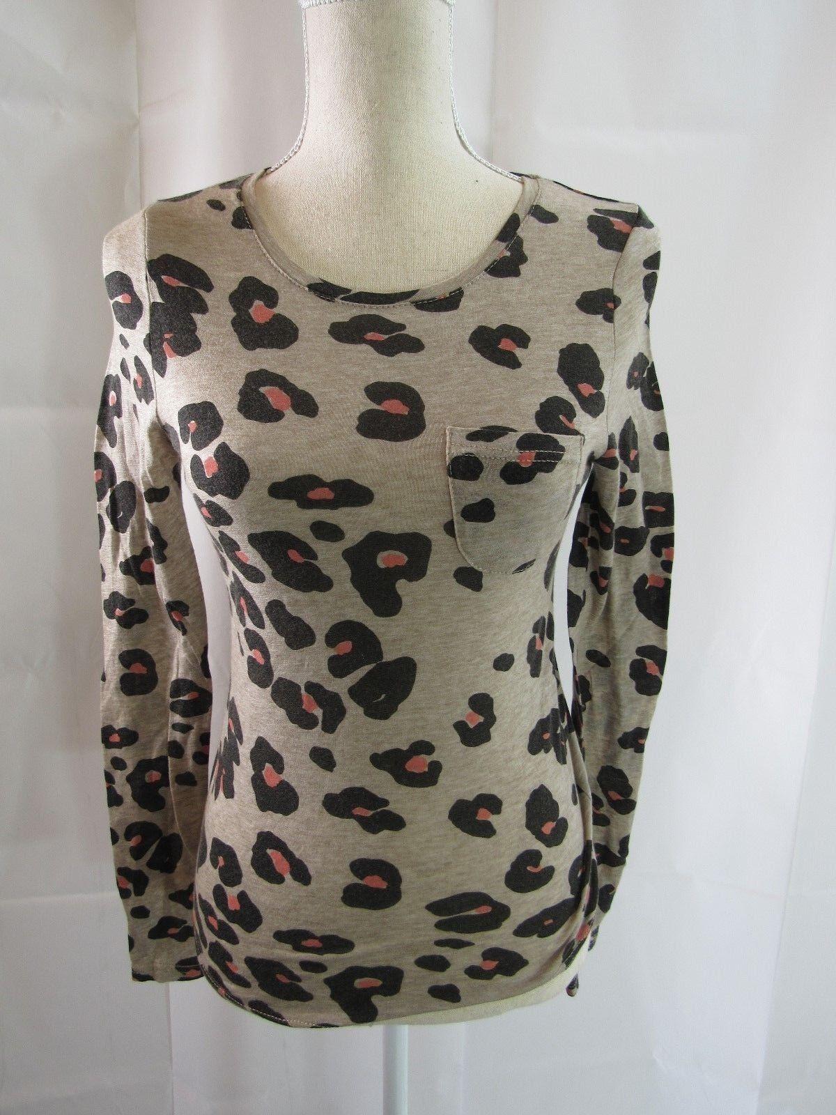 Sonia Rykiel braun Animal Print Long Sleeve Top Größe M