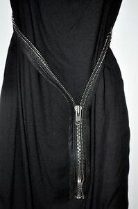 8c08c897cfe6b Helmut Lang Black Cascade Twill Viscose SILK Dress Zipper Belt Size ...