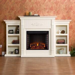 Electric Fireplace White Bookshelves Mantel Entertainment Center Tv