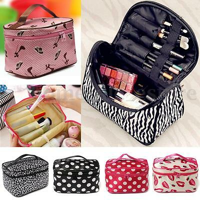 Multifunction Women Makeup Mirror Bag Cosmetic Beauty Container Hand Case Pouch