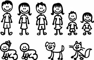 Stick People Family Members Car Sticker Decal Decoration Vinyl Art - Family car sticker decalsfamily car decals ebay