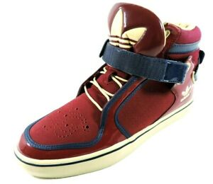 Adidas-Adi-Rise-Mens-Shoes-Mid-Ankle-Strap-Leather-Red-Black-Basketball-Sneakers