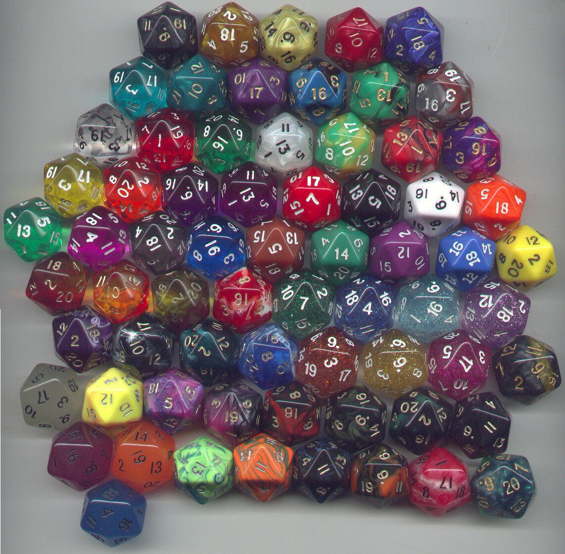 RPG Dice Set of 60 D20 - Mix Set of D20s