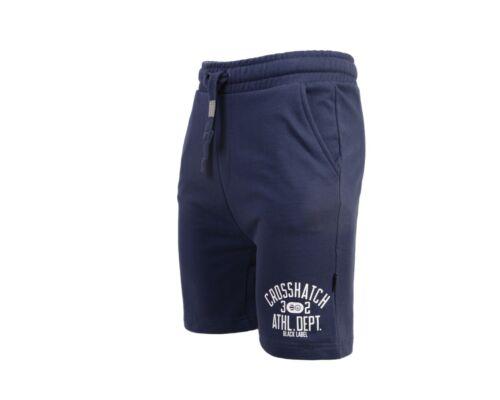 Mens Crosshatch Branded Half Pants Jogging Fleece Lined Drawcord Gym Shorts Pant