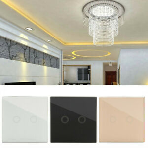 2-Gang-Crystal-Glass-Panel-LED-Light-Smart-Touch-Screen-Wall-Switch-amp-Remote-Kit
