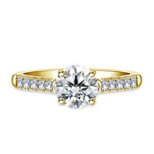0.70 Ct Round Cut Real Moissanite Anniversary Ring 14K Solid Yellow Gold Size 4