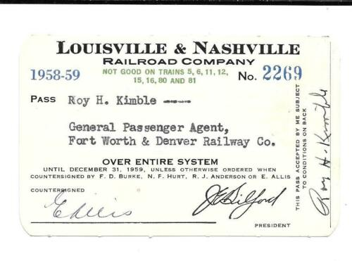 1958 59 LOUISVILLE and NASHVILLE RAILROAD CO for FORT WORTH and DENVER PASS